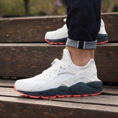 nice Sneakers Nike : Nike Air Huarache: White/Grey/Orange... Nike Free Shoes, Nike Shoes, Shoes Heels, Shoe Boots, Shoe Game, Nike Air Huarache, Runway Fashion, Fashion Shoes, Mens Fashion