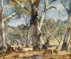 """""""Sheep in Wooded Landscape"""" by Sir Hans Heysen Watercolor Trees, Watercolor Landscape, Landscape Art, Landscape Paintings, Landscapes, Tree Paintings, Pastel Paintings, Australian Painting, Australian Artists"""