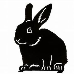 Rabbit silhouette in black metal. This decoration for the garden or indoors often becomes a favorite with the kids. A playful design by Wildlife Garden. Vogel Silhouette, Rabbit Silhouette, Black Silhouette, Silhouette Cameo, Scouts, Owl Life, Outdoor Paint, Downy, Scroll Saw Patterns