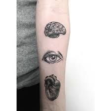 Black Ink Brain With Eye And Real Heart Tattoo On Forearm