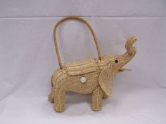 Vintage Wicker Figural Elephant Purse Button Eyes From a Collection Listed Now! #UnbrandedbutPossiblyLSkalnyBasketCo #Figural