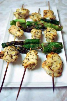Chicken  Asparagus kebobs