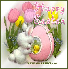 Happy Easter animated bunny chick egg Graphic plus many other high quality Graphics for your Facebook profile at KewlGraphics.com.