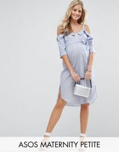 Browse online for the newest ASOS Maternity PETITE Cold Shoulder Shirt midi dress with Foldover Detail styles. Shop easier with ASOS' multiple payments and return options (Ts&Cs apply). Asos Maternity, Maternity Fashion, Maternity Dresses, Maternity Clothing, Maternity Style, Women's Dresses, Latest Fashion Clothes, Fashion Online, Cold Shoulder Shirt