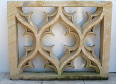 """""""French Gothic sandstone carving having quatrefoil design within rectangular form. From the collection of William Randolph Hearst, San Simeon, California. Circa 15th century."""""""