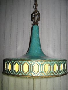 Turquoise swag lamp from eBay