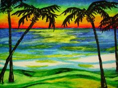 Palms at Sunset, Beach Landscape, Oil Pastel Drawing on Bristol Board, Palm Tree Landscape, Be Oil Pastel Paintings, Oil Pastel Art, Oil Pastel Drawings, Oil Pastels, Abstract Drawings, Oil Pastel Landscape, Beach Landscape, Drawing Sky, Palm Trees Landscaping