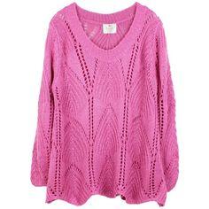 Waves on My Hems Crochet Jumper (Cyclamen) ($51) ❤ liked on Polyvore