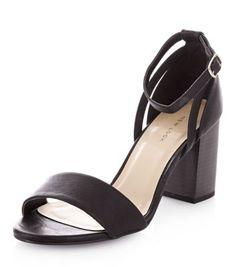 Black Ankle Strap Block Heel Sandals