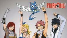 Fairy Tail is an anime about a group of wizards and witches with abilities that a prototypical wizard would not have. They all form guilds, and go on adventures.