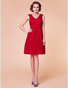 Lanting Bride® Sheath / Column Plus Size / Petite Mother of the Bride Dress Knee-length Sleeveless Chiffon with Side Draping / Criss Cross