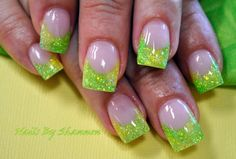 Lime green summer nails!~