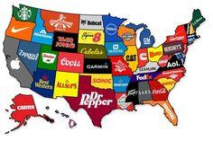 미국 주별로 가장 유명한 브랜드. 출처: The Atlantic