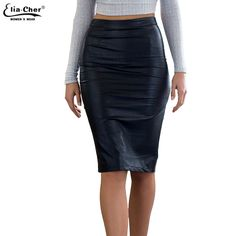 65bcecb43c212 Faux Leather Sexy Pencil Skirt 2017 Chic FashionWomen Plus Size Clothing  Sheath Lady Knee Length Skirts 6716-in Skirts from Women s Clothing    Accessories ...