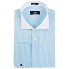 Alara Alara Slim Fit French Cuff Dress Shirt ($50) ❤ liked on Polyvore featuring men's fashion, men's clothing, men's shirts, men's dress shirts, blue, mens blue leopard print shirt, mens cotton shirts, mens dress shirts, mens slim shirts and mens cotton dress shirts