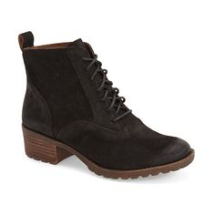 """Lucky Brand 'Giorgia' Lace Up Bootie, 1 1/2"""" heel ($139) ❤ liked on Polyvore featuring shoes, boots, ankle booties, ankle boots, black leather, leather ankle boots, leather lace up boots, black boots and leather booties"""
