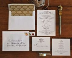 gold & plum wedding invitation suite