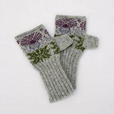 Knitted Scottish Thistle Fair Isle Hand warmers Lambswool Grey, purple &…
