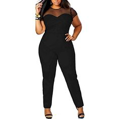 Women's Lace Hollow-Out O-Neck Plus Size Tunic Jumpsuit Rompers, XL,Black. ** You can get more details at