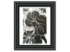 Fashion Illustration lino print by shopLAYOUTLINES on Etsy