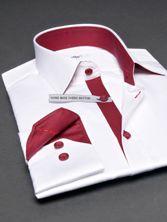 Chemise homme Twisted blanche doublure pied de poule rouge