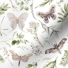 Botanical Gardens // White - Spoonflower White Wallpaper, Perfect Wallpaper, Custom Wallpaper, Wallpaper Roll, Room With Plants, Plant Rooms, Ceiling Shades, Design 24, Textured Walls