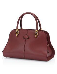c170a25c41 Tods Sella Kleine Bowler Bag in Leder Bruin Cuir Rouge, Sacs À Main En Cuir