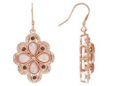 Timna Jewelry Collection - Pink Mother Of Pearl & 0.54 cttw Rhodolite & 0.80 cttw White Topaz Copper Earrings