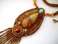 Bead Embroidery Necklace Gold - orange  Bead Embroidered picasso jasper