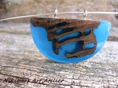 Resin Necklace Blue Necklace Wood Resin by NikibarsNatureArt