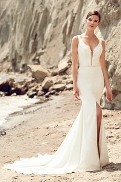 mikaella spring 2017 bridal sleeveless deep plunging v neck simple clean design elegant middle slit fit and flare wedding dress chapel train mv -- Mikaella Bridal Spring 2017 Wedding Dresses Spring 2017 Wedding Dresses, Crepe Wedding Dress, Fit And Flare Wedding Dress, Wedding Dress Sizes, Designer Wedding Dresses, Allure Bridal, Blush Bridal, Bridal Gowns, Wedding Gowns