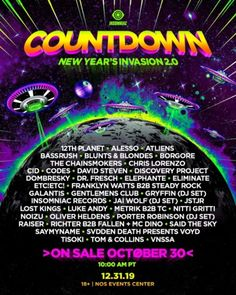 All about Countdown NYE and all the best music festivals around the world, including news, lineups, locations and tickets! Nye Countdown, Festival Information, Insomniac Events, American Festivals, Festival One, Alesso, New Year's Eve Celebrations, Festivals Around The World, Chainsmokers
