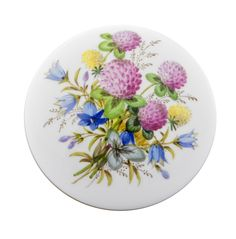 """Dose, Form """"Neuer Ausschnitt"""", Blume naturalistisch, m.Schmetterling, Sondersignet, Golddekoration, ø 7,5 cm"""