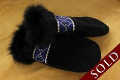 We Just Sold These Women's Moose Hide And Black Rabbit Fur Mitts To A Lucky Person From Toronto #Art #Aboriginal #Mitts
