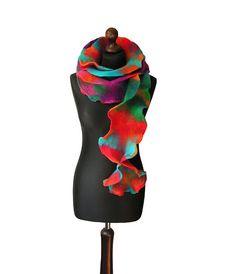 Felted collar felted scarf felted shawl art to by MarlenaRakoczy
