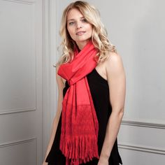 This rebozo is made in striking red (bright and rich). Perfect for colour blocking and also great to brighten any outfit if you're colour-shy. Like all our rebozos, this is one of a kind (no two rebozos are EVER the same!).   This rebozo is perfect to be worn as a scarf or shawl. The cotton is thick, lush and ultra soft. It looks very elegant, so it can also be worn for special occasions or as a wedding accessory.