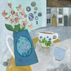 """Original mixed media painting on canvas by Rachel Grant. """"The Garden Jug"""" with sweet peas and ceramics. Available from Barewall Gallery."""