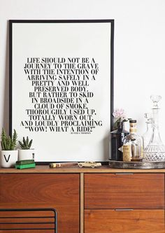 Wow! What A Ride - Hunter S Thompson - black and white - Typography Poster - Wall Art on Etsy, $18.78 CAD