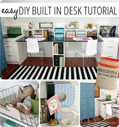 Easy DIY Built In Desk Tutorial -  Using basic box construction, stock cabinets and plywood tops, you can custom create a built in desk for any space with this simple tutorial.