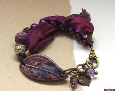 Purple bracelet ceramic beads bo hulley sari silk by esferajewelry  40.00