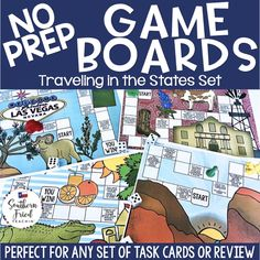 These Fun NO PREP Travel in the States Game Boards make learning fun! Great for review and task cards! Critical Thinking Activities, Social Studies Activities, Reading Activities, Fun Learning, State Game, Study Board, Whole Brain Teaching, Classroom Games, Review Games