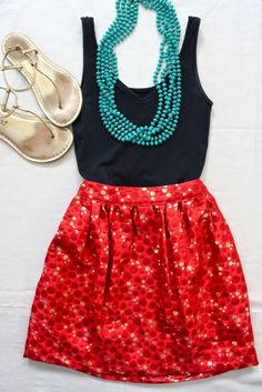 Cute polka dotted ladies red color skirt and black sleeveless shirt and necklace outfit for summer | Fashion And Style