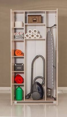 Utility room or small laundry room closet with space for storing laundry soap, broom etc Utility Room Storage, Utility Closet, Laundry Closet, Small Laundry Rooms, Cleaning Closet, Laundry Room Organization, Basement Laundry, Broom Storage, Cleaning Cupboard