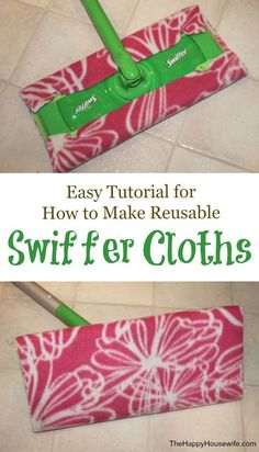 It is simple to make reusable swiffer cloths, no sewing required! We've also included a easy sew DIY wet cloth tutorial! Save time and money. Household Cleaning Tips, House Cleaning Tips, Cleaning Hacks, Diy Hacks, Homemade Cleaning Supplies, Household Products, Sewing Hacks, Sewing Tutorials, Sewing Crafts