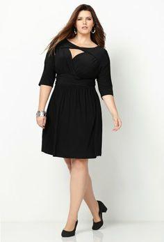 Fashion Bug Womens Plus Size Black Criss Cross Cutout Dress www.fashionbug.us