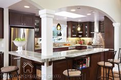 Kitchen decoration ideas | Home Trendy...put a bar on both sides?