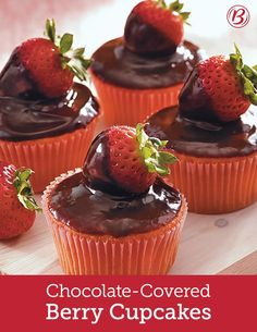 Fans of chocolate-covered strawberries will freak over these fruity cupcakes. Made with strawberry cake mix and topped with chocolate and fresh berries, these treats are impressive to look at, but easier than you think to make!