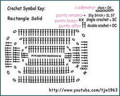 Crochert Solid Granny Rectangle - Chart