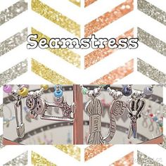 Set of 6 Sewing Wine Charms Seamstress by WINETimeCharms on Etsy