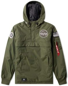 Nasa Alpha Industries NASA Anorak - Buy the Alpha Industries NASA Anorak in Dark Green from leading mens fashion retailer END. - only Fast shipping on all latest Alpha Industries products Alpha Industries Nasa, Nasa Jacket, Urban Look, Nasa Clothes, Custom Leather Jackets, Nasa Astronauts, Crop Top Sweater, Anorak Jacket, Well Dressed Men